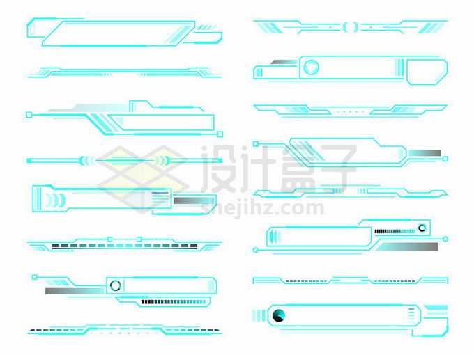 16款蓝色线条科技风格多边形装饰文本框信息框标题框4750748矢量图片免抠素材