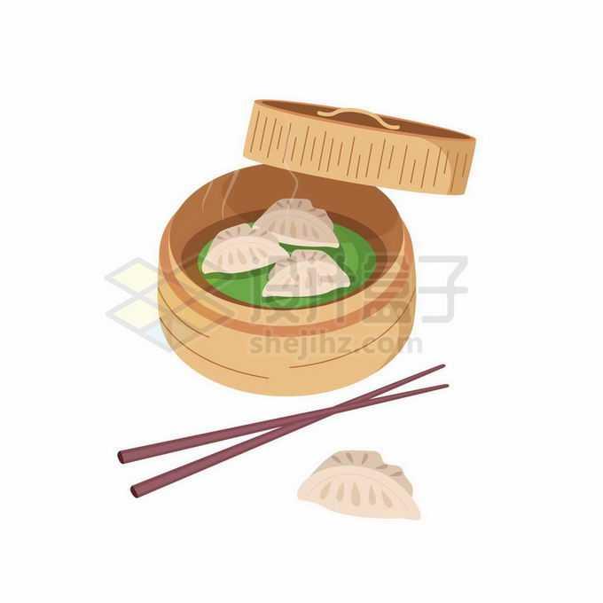 打开的蒸笼里的蒸饺美味美食2163573矢量图片免抠素材免费下载