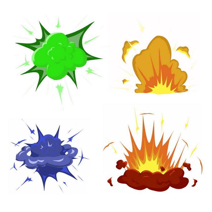 4种卡通漫画风格的彩色爆炸效果7576052矢量图片免抠素材 效果元素-第1张