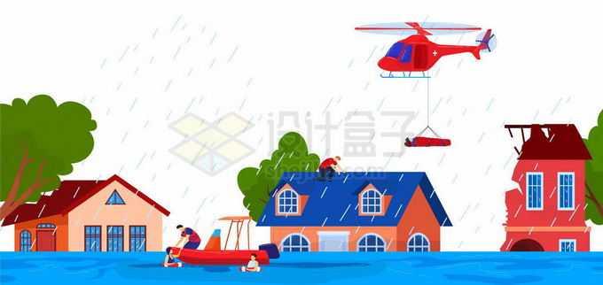洪涝灾害中被淹没的房子救援直升机正在营救灾民7683007矢量图片免抠素材免费下载