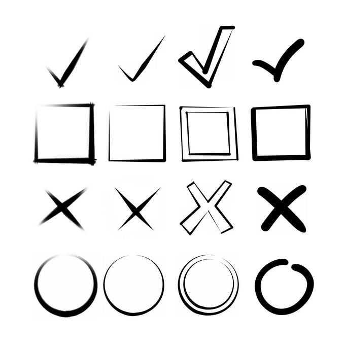 手绘风格对号复选框叉号圆圈等图案9004689图片免抠素材免费下载