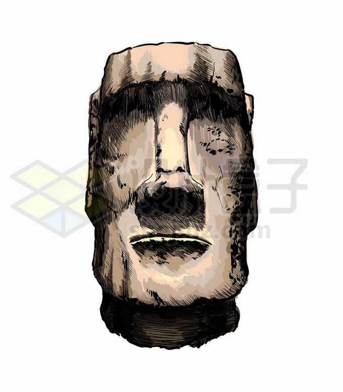 复活节岛石像写实风格水彩插画4255218矢量图片免抠素材免费下载