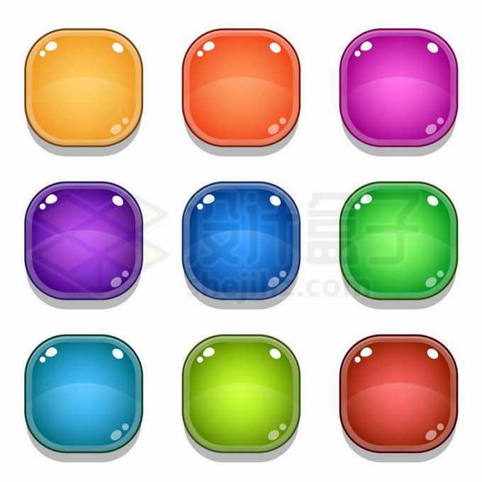 9款彩色圆角水晶按钮玻璃按钮游戏按钮4801703矢量图片免抠素材免费下载