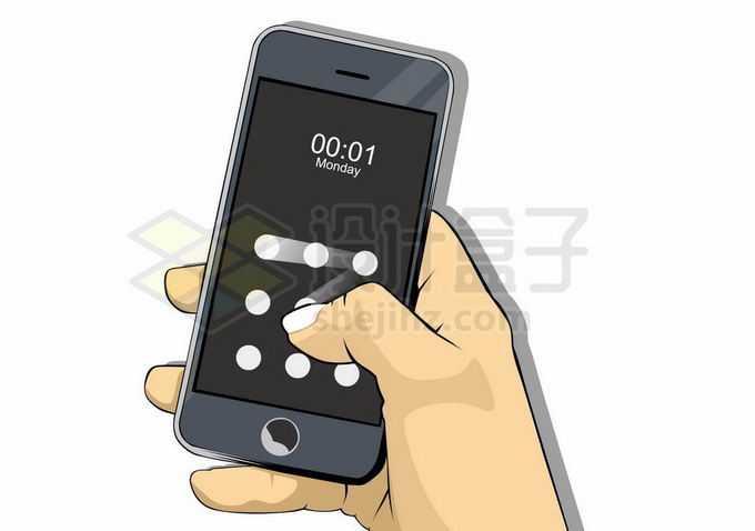 单手操作手机通过绘图解锁手机9030639矢量图片免抠素材免费下载