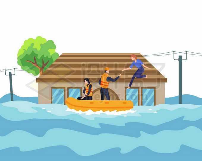 洪水中救援人员开着救生艇来援救躲在屋顶的灾民7684450矢量图片免抠素材免费下载