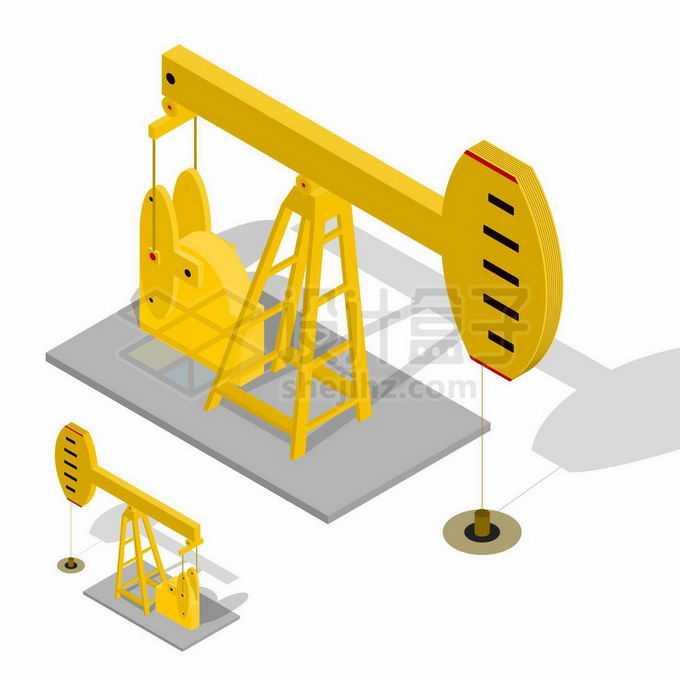 2.5D风格黄色石油开采的磕头机7537782矢量图片免抠素材免费下载