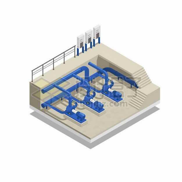 2.5D风格自来水厂工厂的水泵系统抽水输水管道系统2668626矢量图片免抠素材