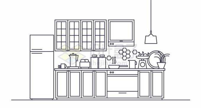 线条MBE风格厨房窗户冰箱灶台等6365464矢量图片免抠素材