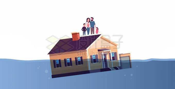 洪水中漂浮着的房子和房顶上的灾民6395634矢量图片免抠素材免费下载
