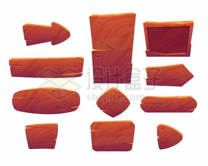 各种深色木头红木风格游戏按钮信息框和方向箭头等游戏ui设计3440407矢量图片免抠素材