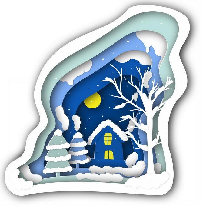 剪纸叠加风格冬天的大树房子雪景9651933免抠图片素材 生物自然-第1张