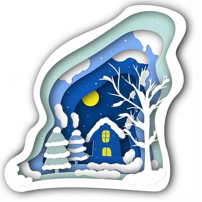 剪纸叠加风格冬天的大树房子雪景9651933免抠图片素材