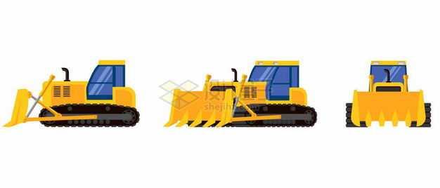 3个不同角度的推土机黄色工程车辆3941034矢量图片免抠素材