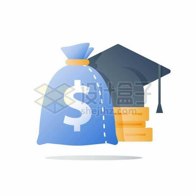 卡通钱袋子和博士帽书本象征了知识就是金钱改变命运5357839矢量图片免抠素材