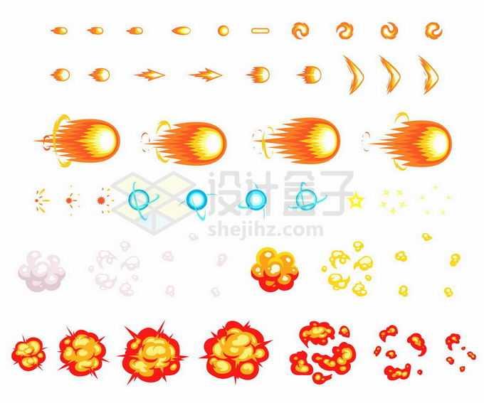 各种风格的卡通漫画爆炸效果红色蓝色光球效果6308415矢量图片免抠素材免费下载