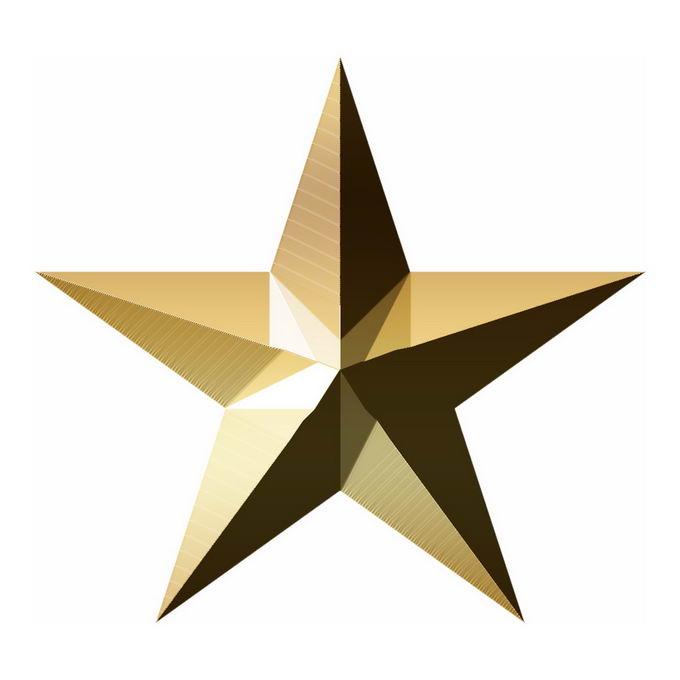 3D立体风格金色金属光泽五角星图案3900707免抠图片素材 线条形状-第1张