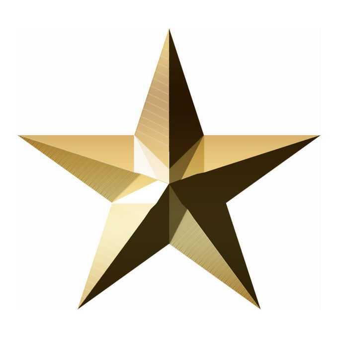 3D立体风格金色金属光泽五角星图案3900707免抠图片素材
