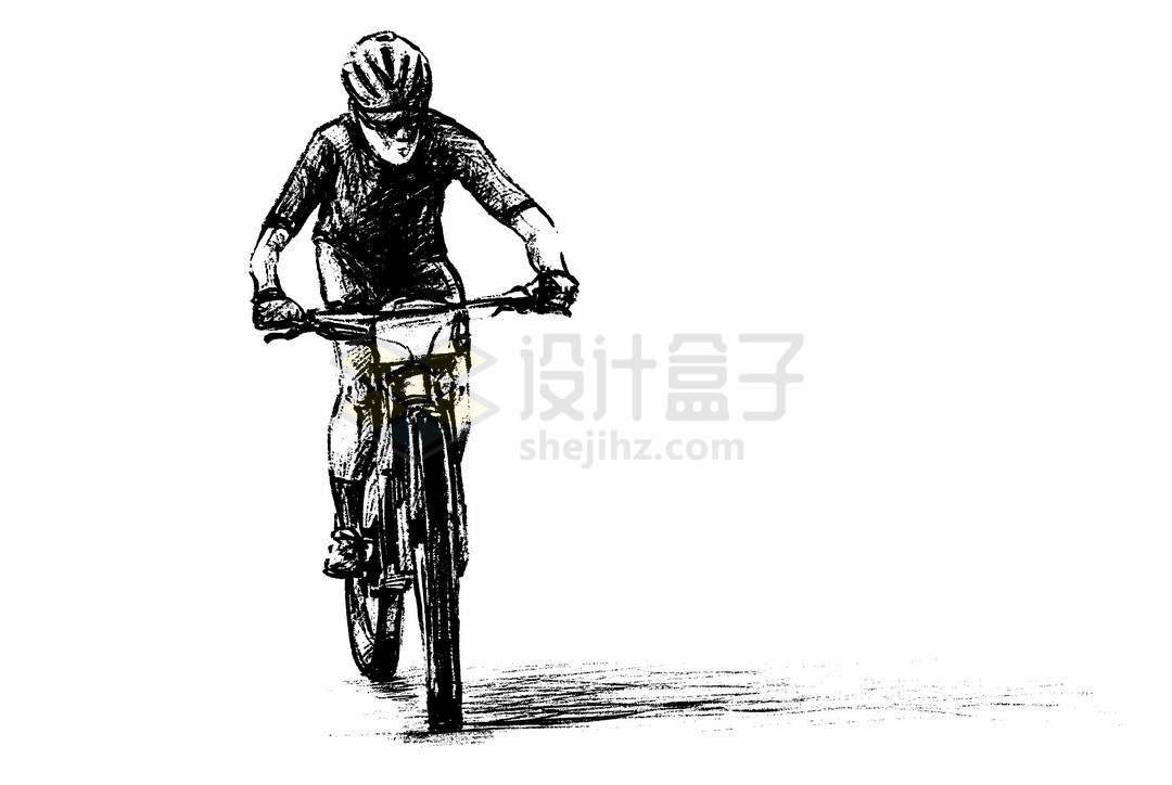 骑手正在骑自行车正面手绘线条素描速写插画3950898矢量图片免抠素材