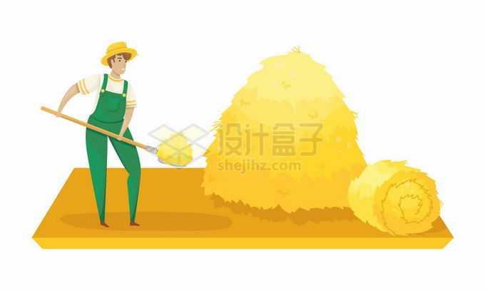 卡通农民用叉子将稻草堆成草垛6492926矢量图片免抠素材免费下载