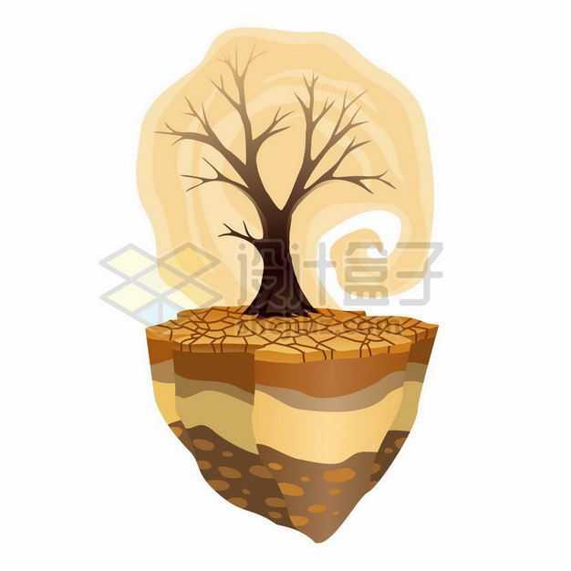 悬空岛上干裂的土地和干枯的大树象征了旱灾干旱气候9634557矢量图片免抠素材