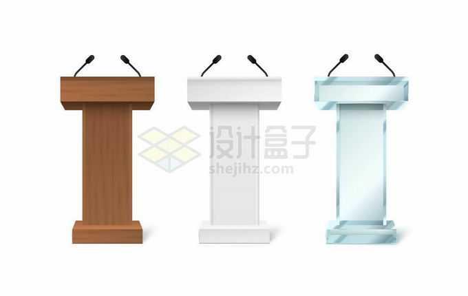 3款木质白色和蓝色玻璃演讲台2670419矢量图片免抠素材