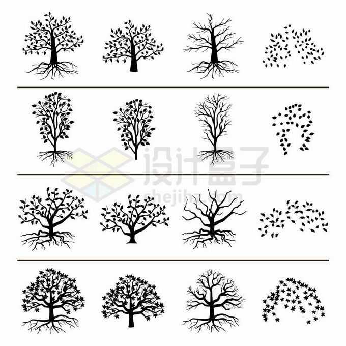16款枯树树干树冠和树根树叶剪影图案3993170矢量图片免抠素材