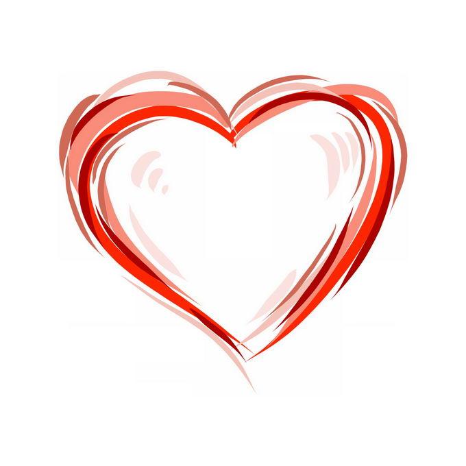 涂鸦红色线条组成的心形图案红心装饰5198947矢量图片免抠素材 装饰素材-第1张