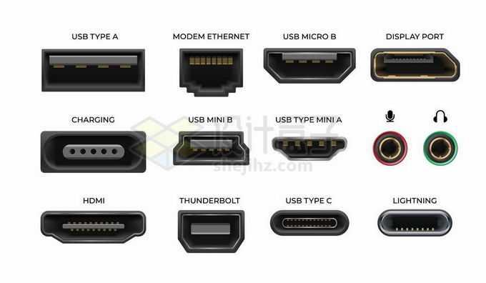 USB/HDMI/闪电接口雷电接口网线接口等数据接口8524530矢量图片免抠素材