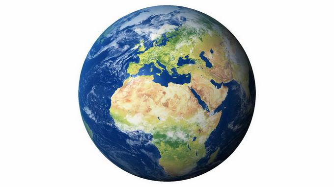逼真的地球高清图片定位在非洲大陆和欧洲上空png免抠图片素材 科学地理-第1张