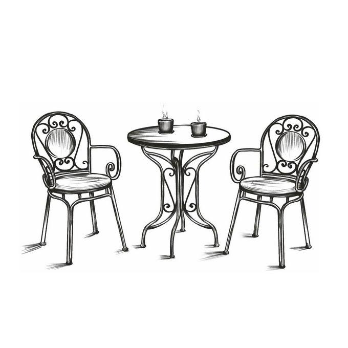 户外休闲桌子椅子喝咖啡手绘线条涂鸦插画3917474图片免抠素材免费下载 插画-第1张