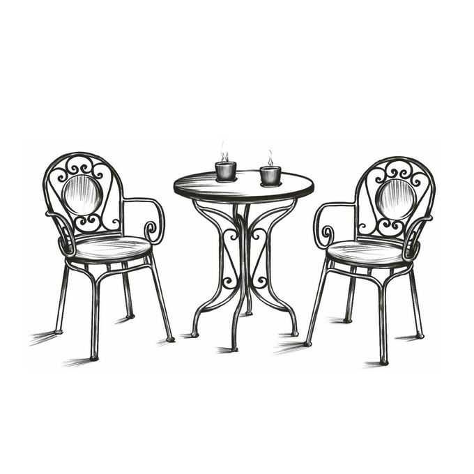 户外休闲桌子椅子喝咖啡手绘线条涂鸦插画3917474图片免抠素材免费下载