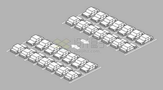 黑白色线条风格停车场停满了卡通汽车8521807矢量图片免抠素材免费下载