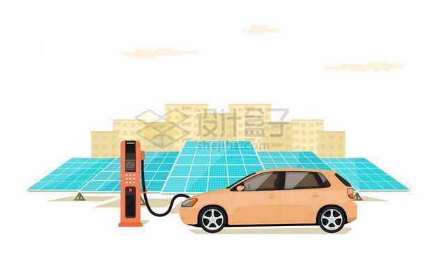 蓝色的太阳能发电板和使用充电桩充电的新能源电动汽车绿色能源3406189矢量图片免抠素材