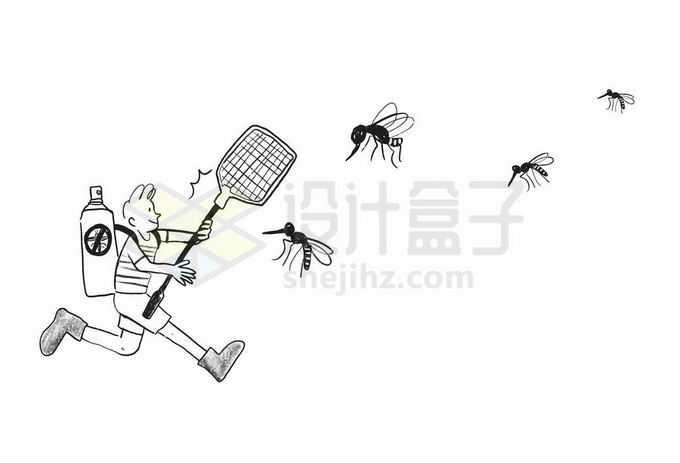 卡通男孩拿着苍蝇拍和杀虫剂打蚊子手绘插画4850261矢量图片免抠素材免费下载