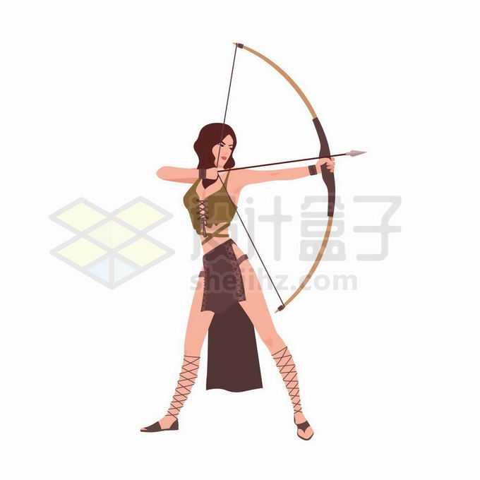 身材苗条的美女拉开弓箭准备射箭女弓箭手8152241矢量图片免抠素材