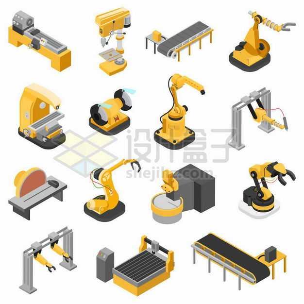 17款黄色的机械手臂流水线自动化生产线3620218矢量图片免抠素材