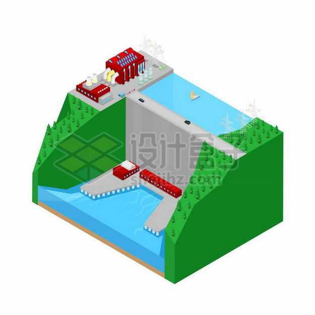 2.5D风格水力发电站大坝绿色能源6973555矢量图片免抠素材