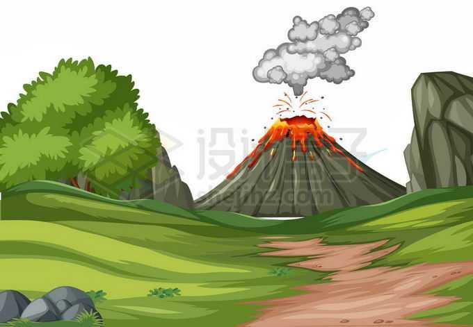 远处的火山爆发和近处的草原卡通风景图8475399矢量图片免抠素材免费下载