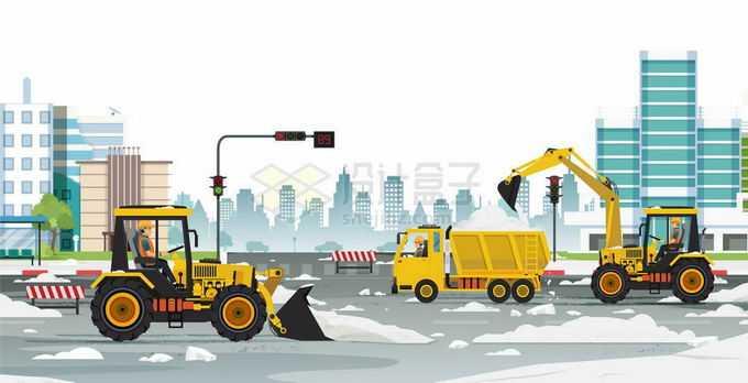 冬天雪灾以后各种工程机械正在清除积雪扫雪3656255矢量图片免抠素材免费下载