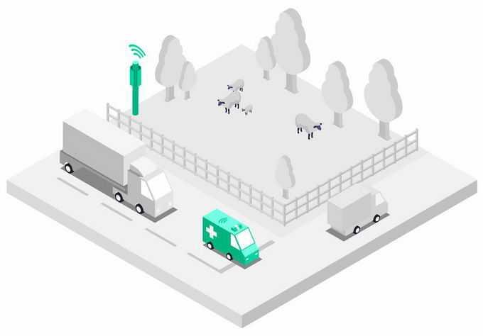 2.5D风格银灰色的城市街景模型和救护车以及5G技术的应用8412274png图片素材
