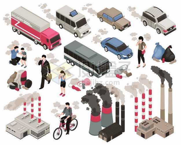 2.5D风格卡车汽车排放尾气工厂排放废气等空气污染6986506矢量图片免抠素材
