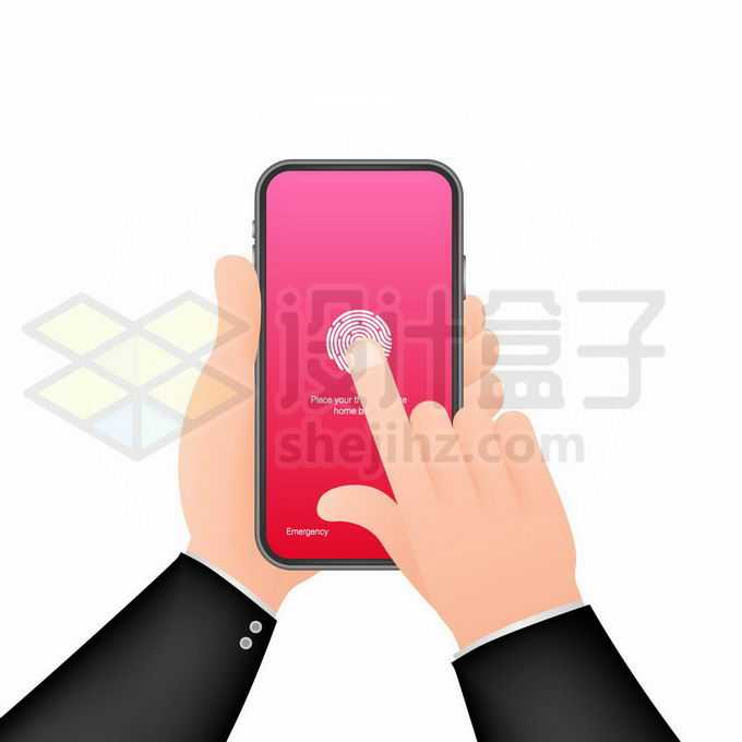 通过指纹是被技术解锁手机的双手7095901矢量图片免抠素材免费下载