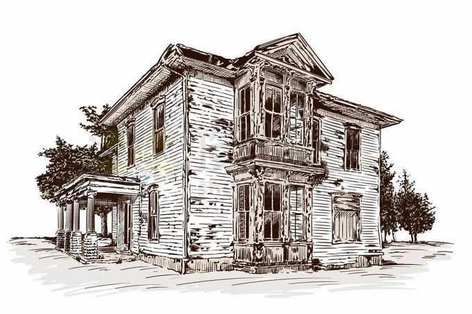 一幢破败的二层别墅房子手绘插画3753595矢量图片免抠素材免费下载