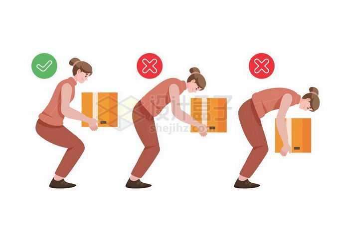 正确和错误的搬运东西弯腰动作手绘插画3269451矢量图片免抠素材