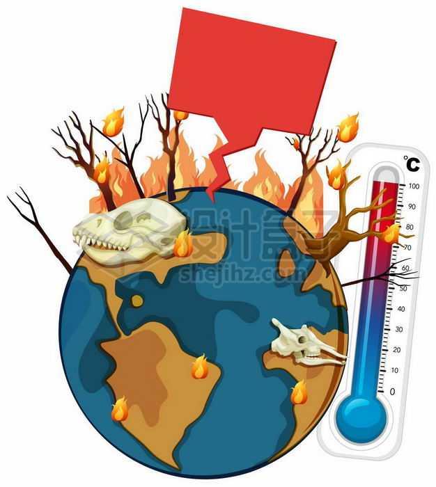 卡通地球上燃烧的森林和高温温度计象征了全球气候变暖7470051矢量图片免抠素材