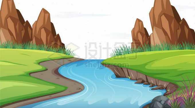 小溪和草地以及远处的石山卡通风景图9299612矢量图片免抠素材免费下载