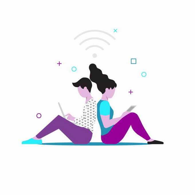 扁平化风格背靠背坐在地上使用电脑和平板上网的年轻人5098504png图片素材