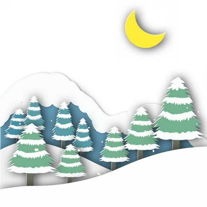 剪纸叠加风格冬天大雪覆盖的山坡和森林雪景7183870免抠图片素材