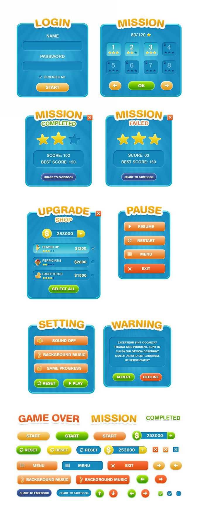 一整套蓝色风格的游戏界面和游戏按钮元素3510637免抠图片素材免费下载