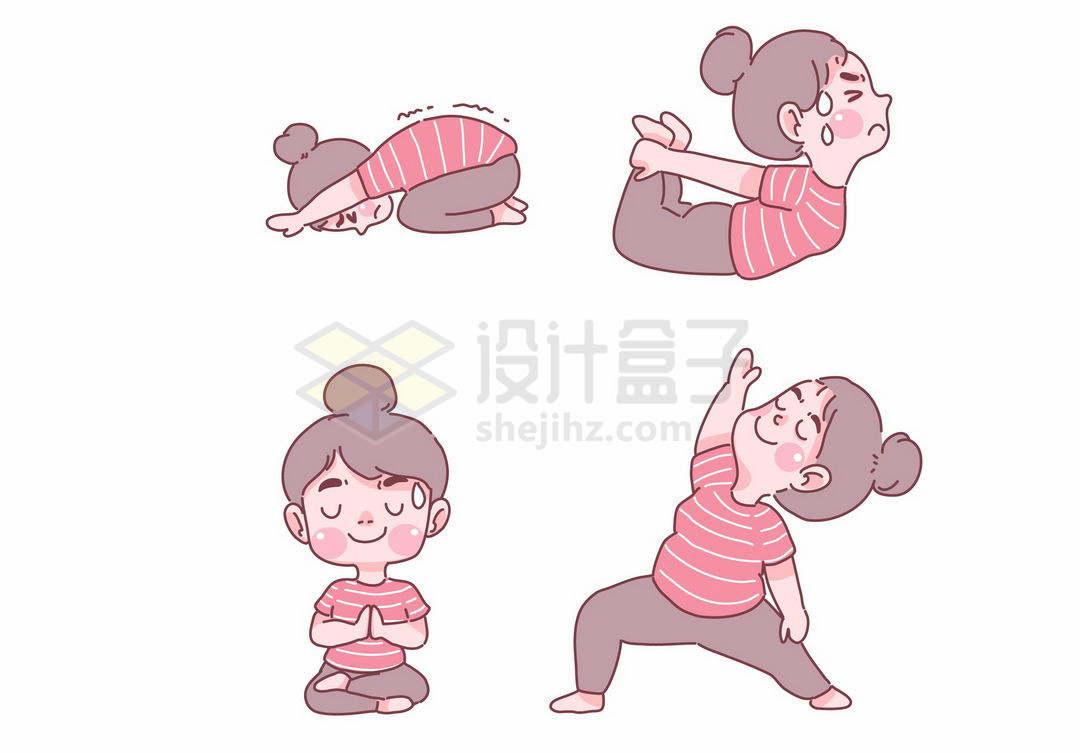 4款正在挥汗如雨健身锻炼身体瑜伽拉伸动作的卡通女孩手绘插画6405772矢量图片免抠素材